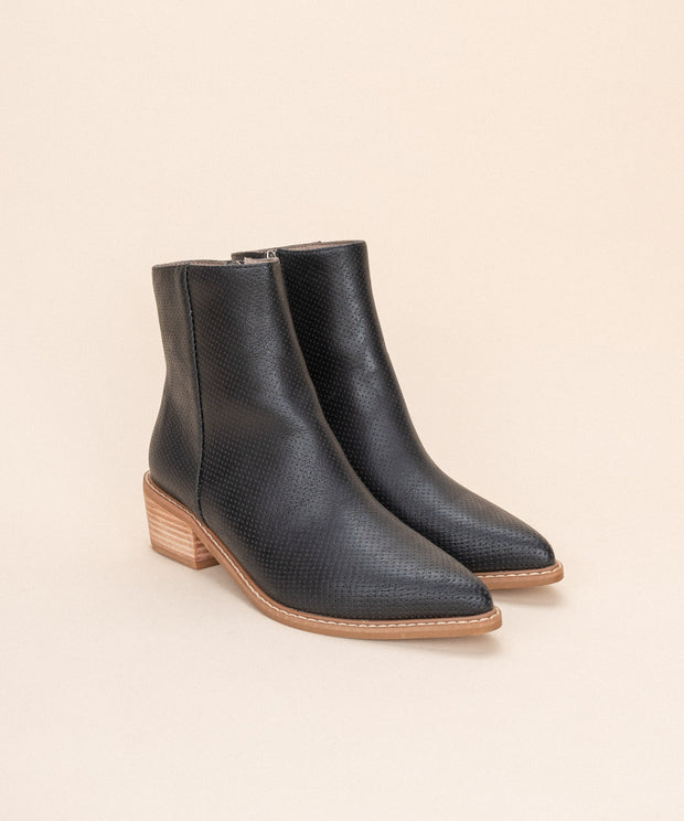 Emilia Black | Perforated Slim Ankle Boot
