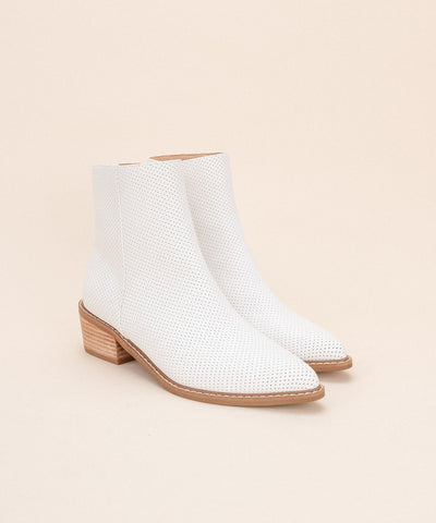 Emilia White | Perforated Slim Ankle Boot