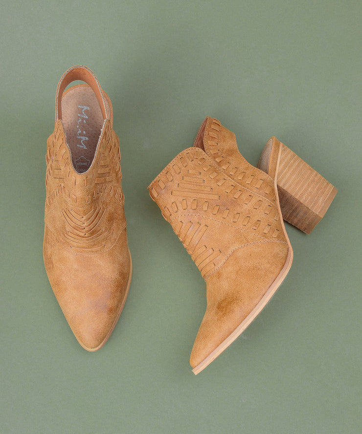 Emily camel Western-Inspired Woven Bootie