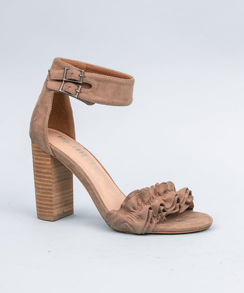 Emmeline taupe Ruffle Trim Two Band Heel
