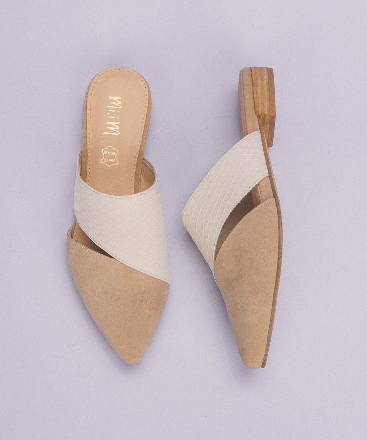 Epic almond Two-Toned Pointed Business Mule