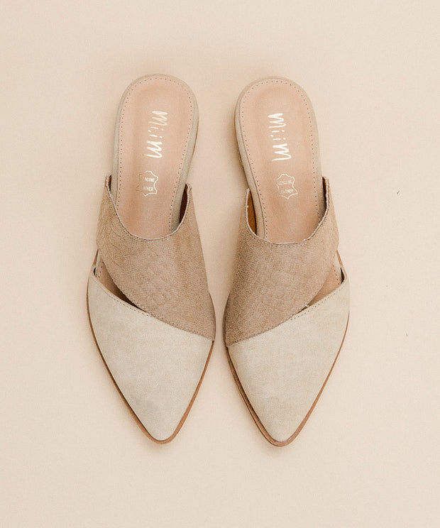 Epic beige Two-Toned Pointed Business Mule