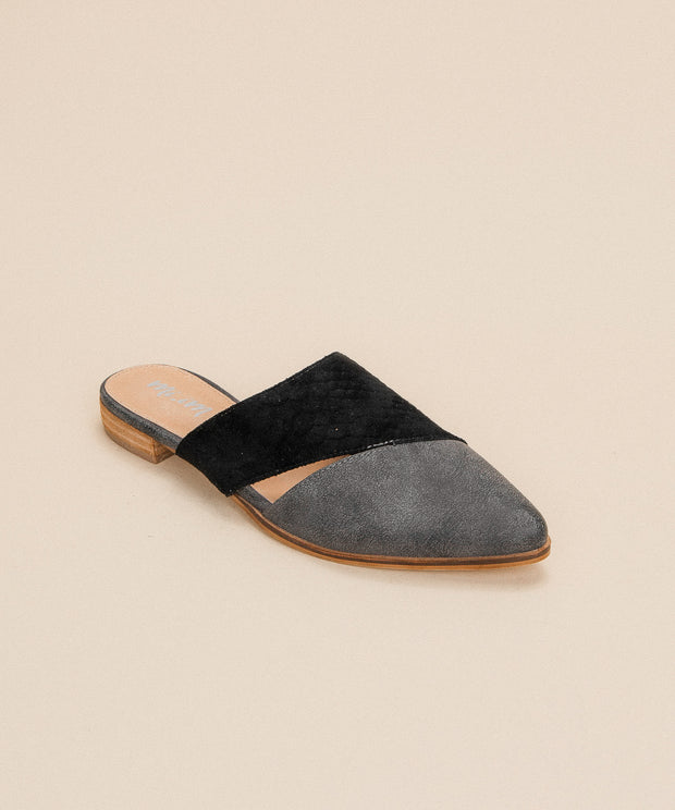 Epic black Two-Toned Pointed Business Mule