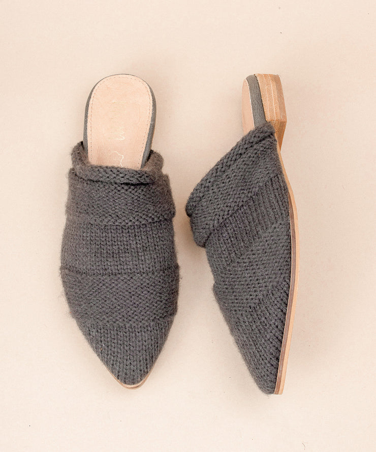 Fali charcoal Sweater Knitted Mules