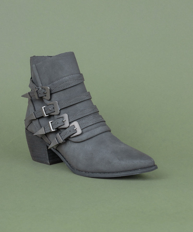 Fayth black Buckled Western Bootie