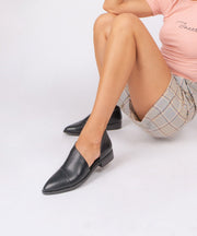 Fifth black Asymmetric Studded Flat
