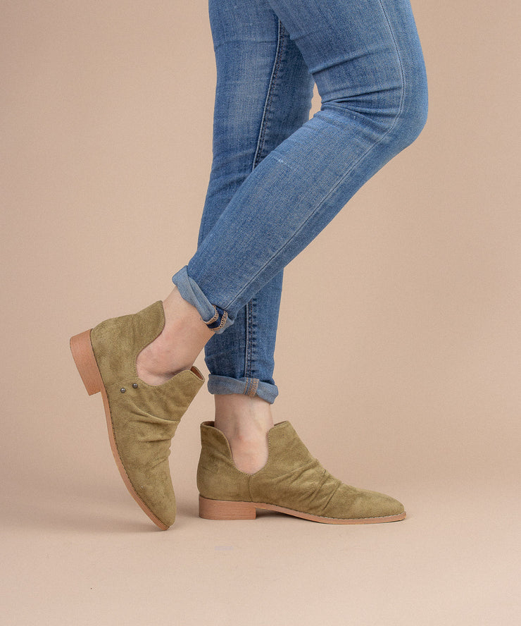 Freedom olive Suede Ankle Bootie