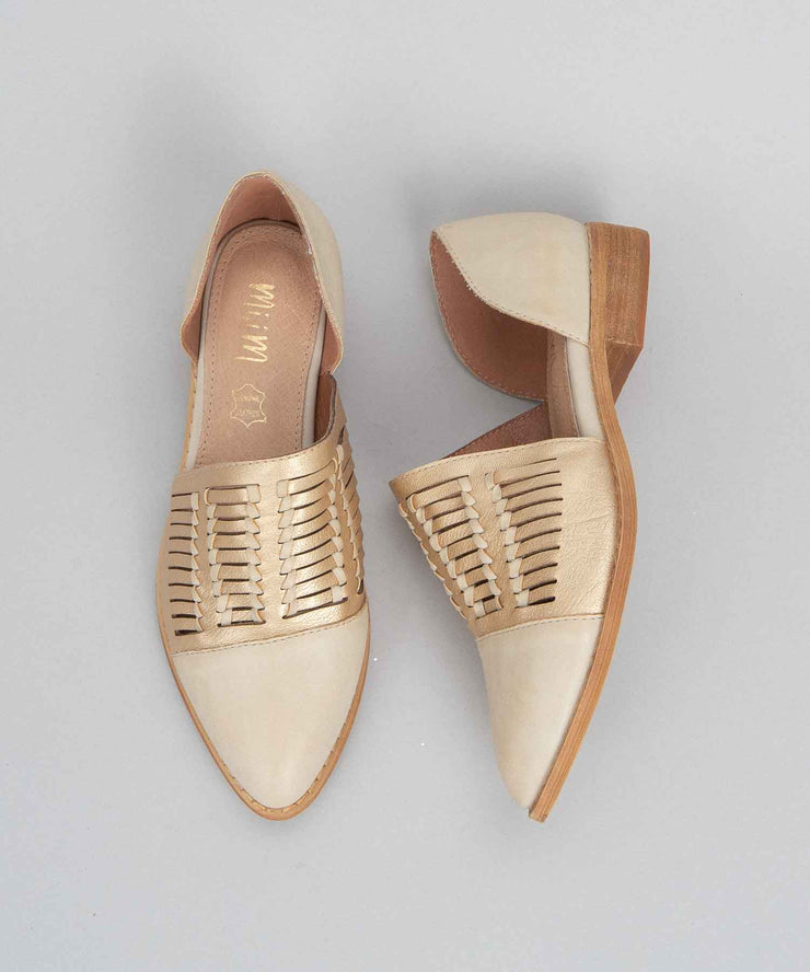 Freesia beige Metallic Pointed Flats