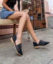 Freesia black Metallic Pointed Flats
