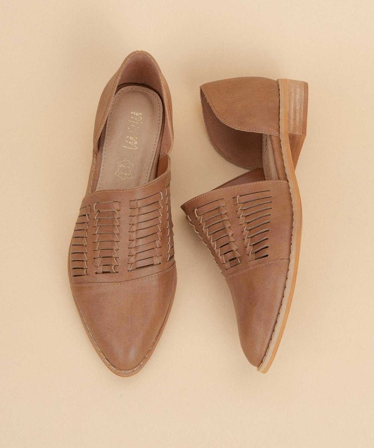 Freesia brown Metallic Pointed Flats