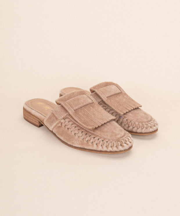 French nude Square Toe Fringe Loafer Mule