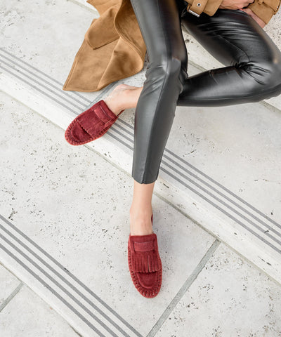 French wine Square Toe Fringe Loafer Mule