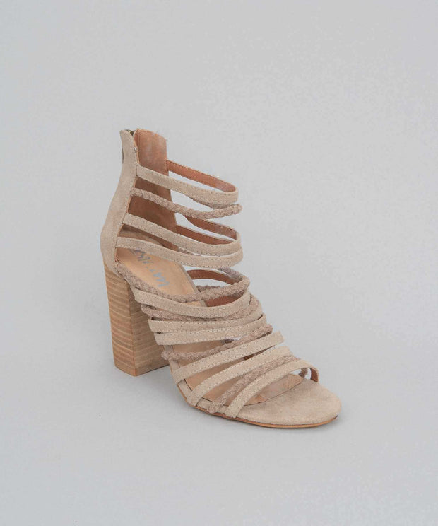 Frida taupe Strappy Suede Heel