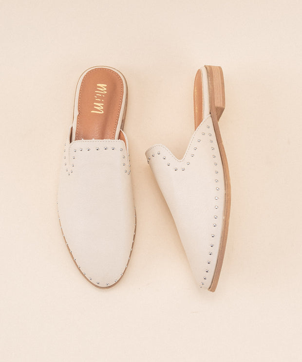 Gabriella Off-White | Studded Mule