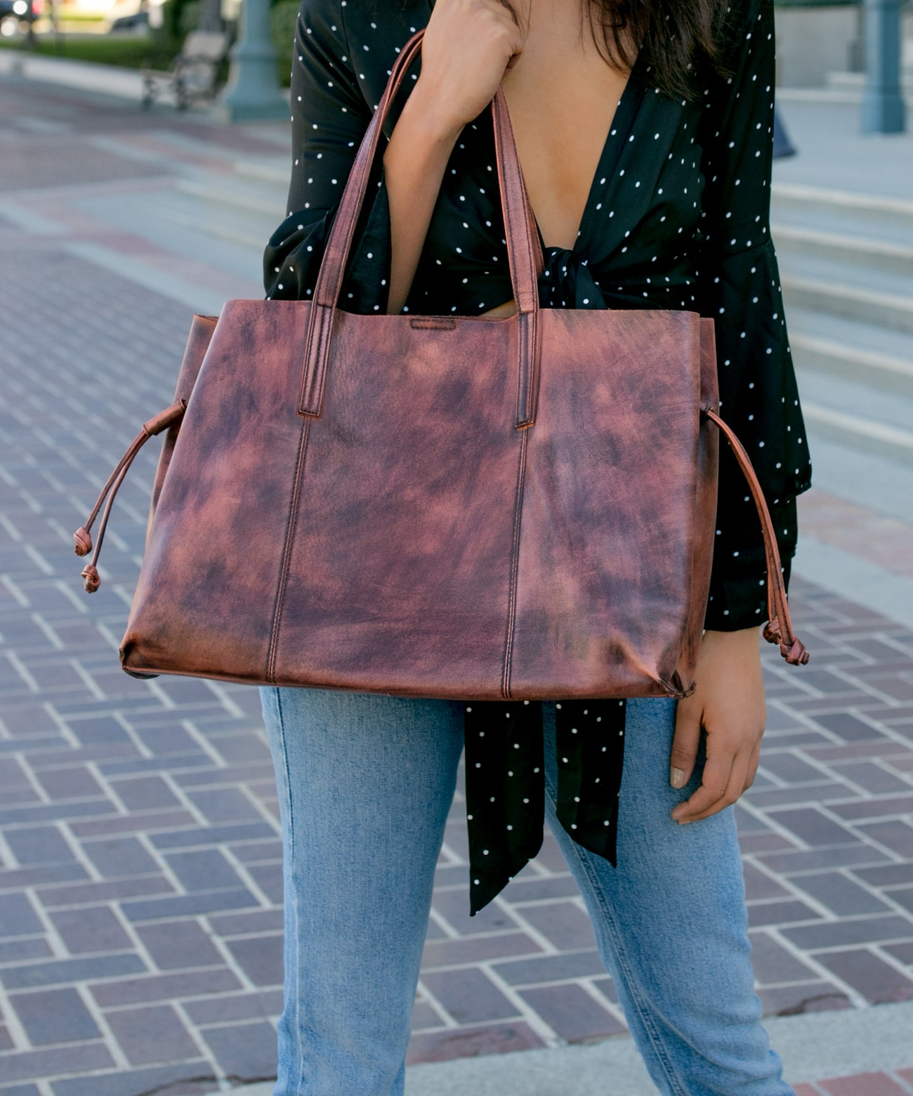 Gaia brown Large Carry-All Leather Bag