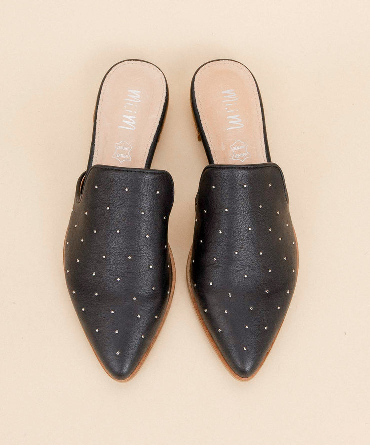 Gaze black Ball Studded Pointed Mule