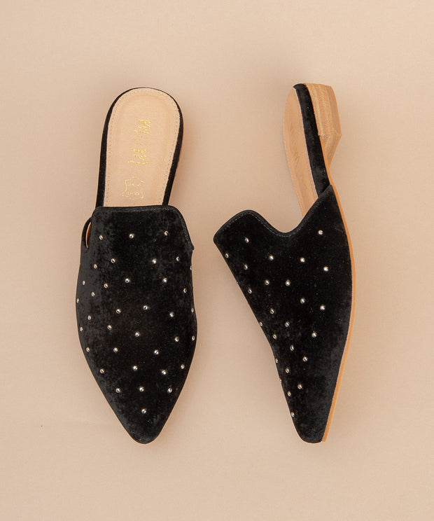 Grace black Studded Mule