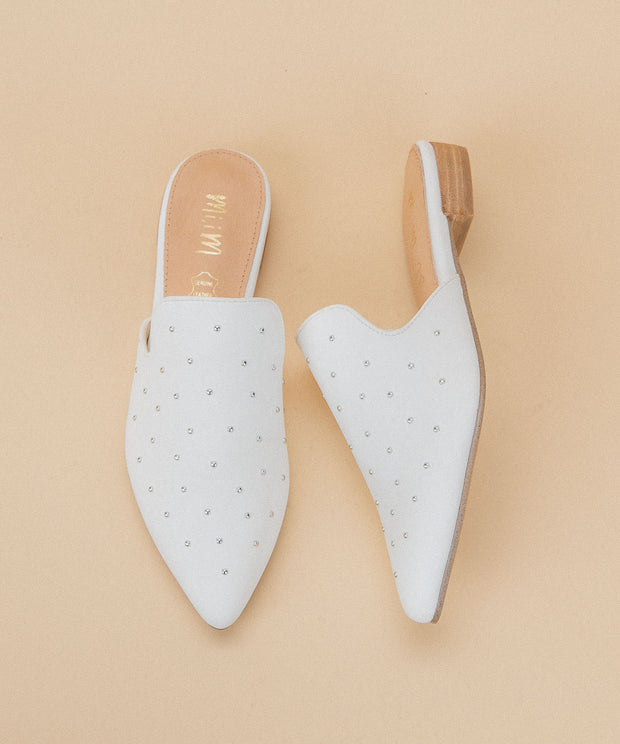 Grace white Studded Mule