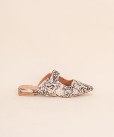 The Hannah | Pointed Toe Snakeskin Mule - FINAL SALE