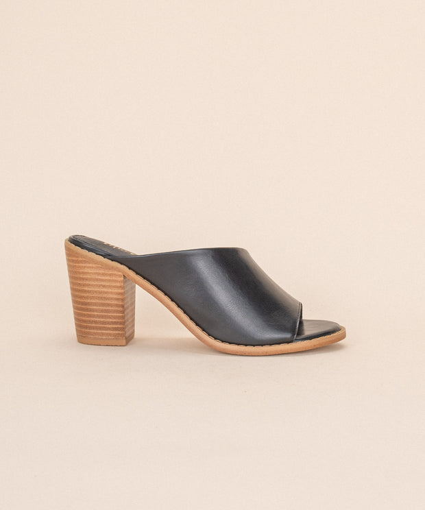 Haven black Open Toed Block Heel