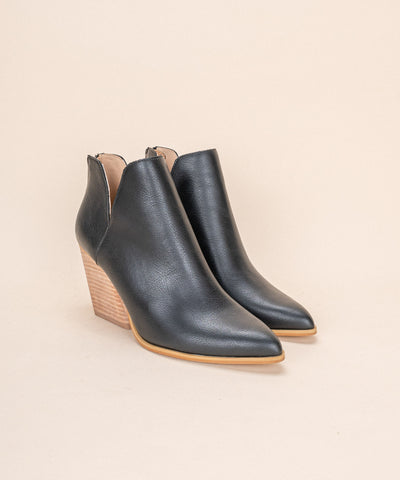 Indigo Black | Ankle Flair Western Stacked Bootie