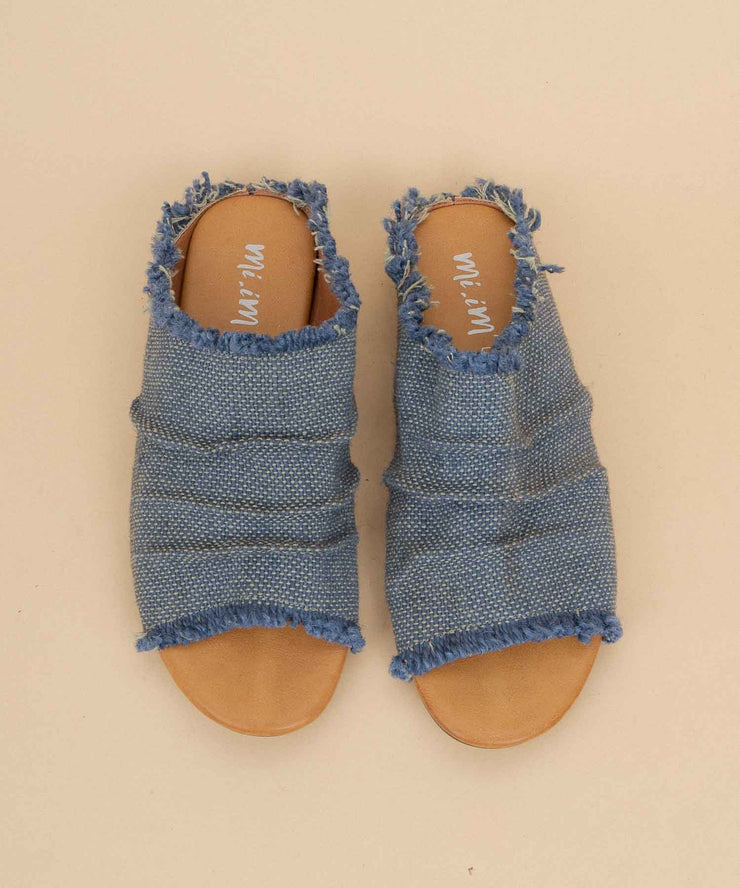 Indira navy Sunbleached Denim Slides