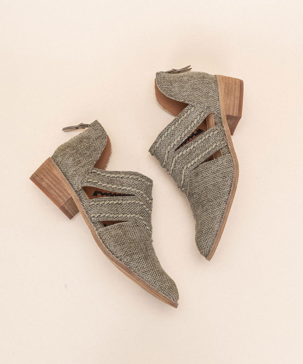 Jacklyn khaki Distressed Canvas Booties
