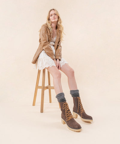 Jamie Coffee | Leather Lace Military Bootie