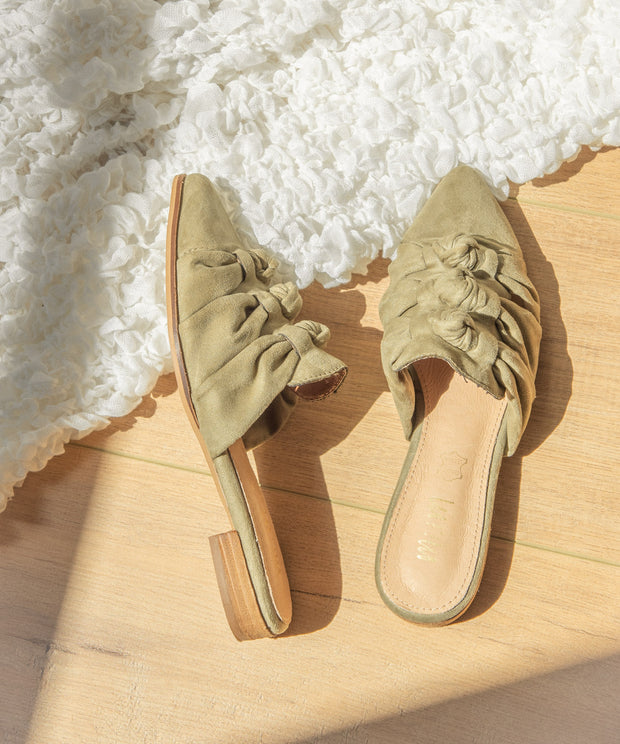 The Jenelle Olive | Triple Knot Pointed Mules - FINAL SALE