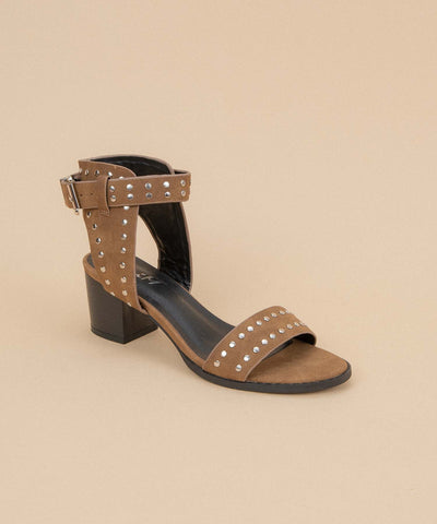 Jersey rust-brown Metal Studded Low Heel