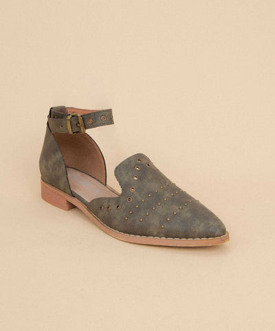 Jones khaki Eyelet Embellished Flat