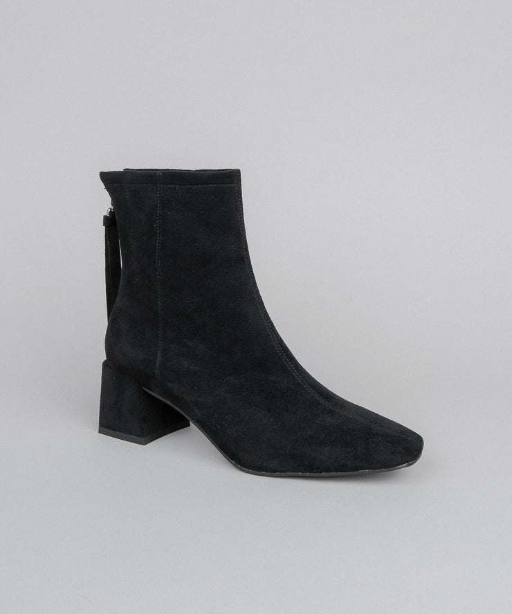 Kadee black-suede Square Toe Block Heel