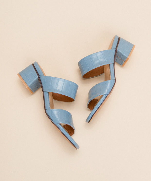 Kelsey blue Double Band Alligator Sandal