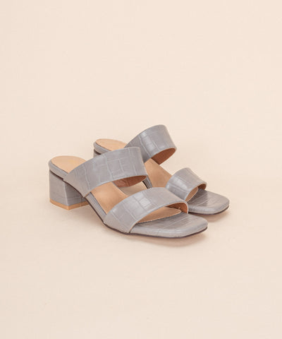 Kelsey grey Double Band Alligator Sandal