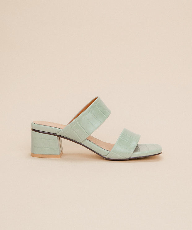 Kelsey mint-green Double Band Alligator Sandal