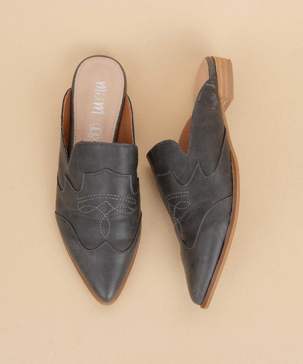 Kendrick black Pointed-Toe Paneled Mule