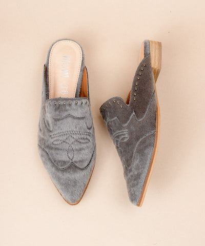 The Kim | Faux Calf Hide Mule - Grey