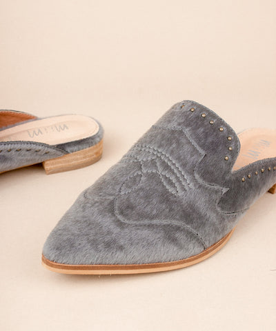 The Kim Grey | Faux Calf Hide Mule - FINAL SALE