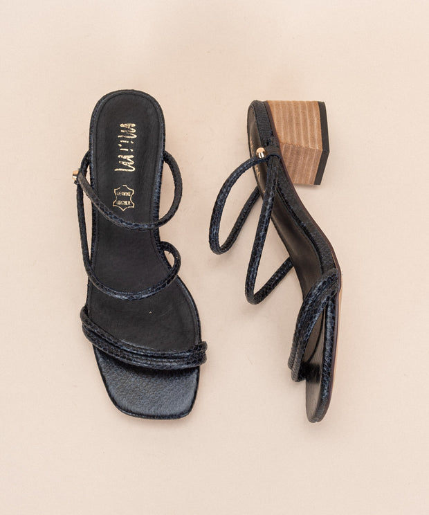 Kris navy Strappy Snakeskin Sandals