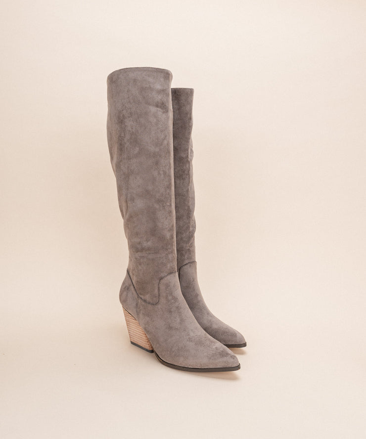 Lacey Grey | Knee High Western Bootie