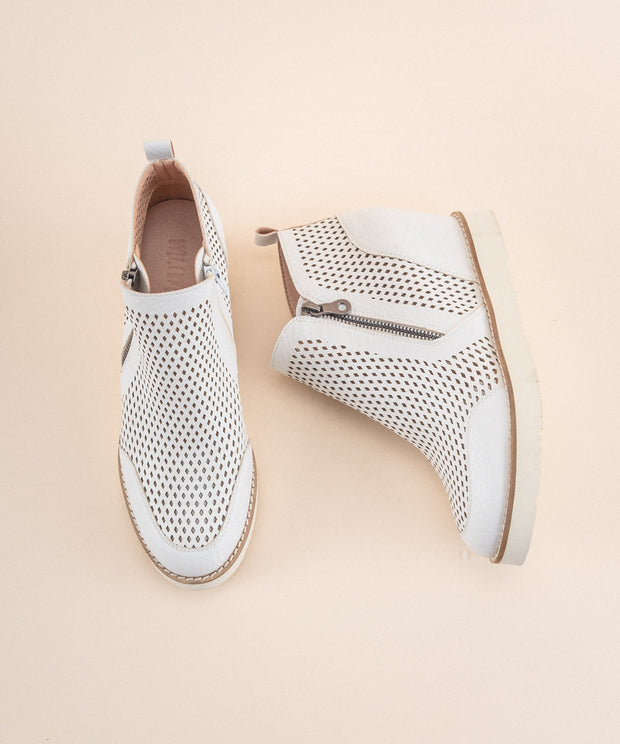 Lamber | Perforated Sneaker Wedge - White