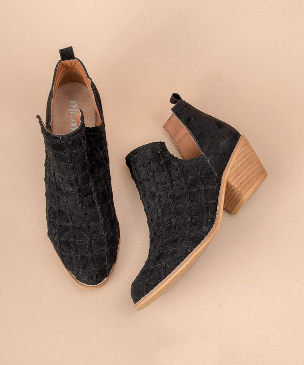 Lavin black Patterned Open-Cut Suede Bootie