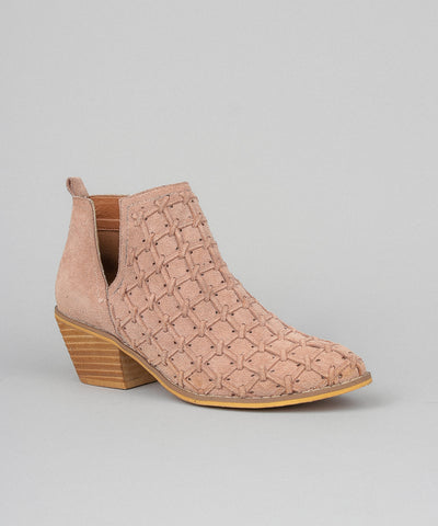 Lavin rose Patterned Open-Cut Suede Bootie