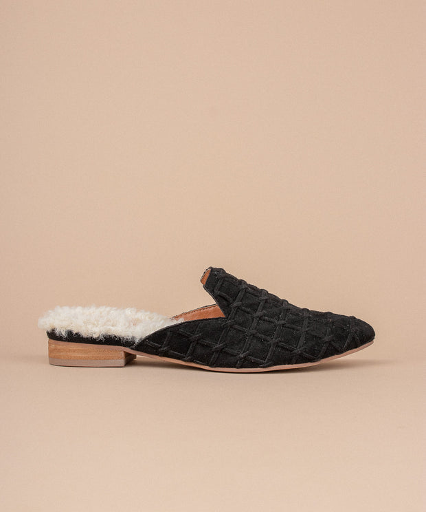 The Lavinia | Faux Fur Lined Mule - FINAL SALE