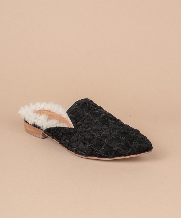 Lavinia black Faux Fur Lined Mule