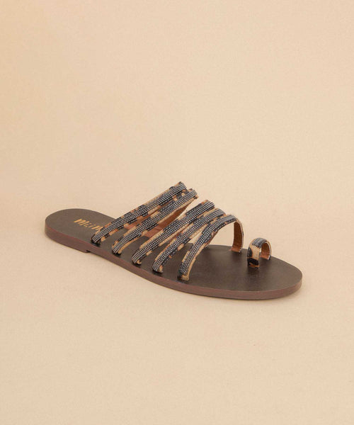 Layla leopard Strappy Studded Toe Loop Sandals