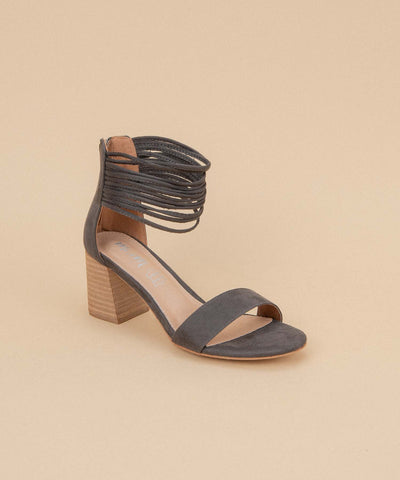 Lenna dark-grey Shredded Ankle Strap Block Heel