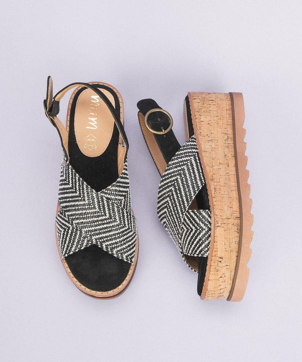 Liam | Criss Cross Cork Sandal - Black