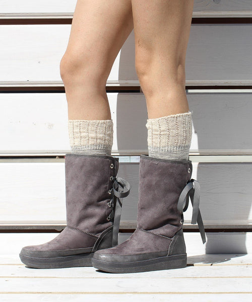 Marshmallow 03 grey Ribbon Tied Suede Boot