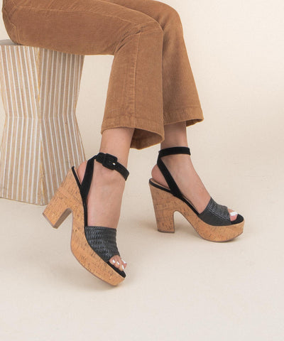 Margot Black | Chunky Cork Platform Heels